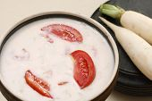 picture of grated radish  - Mooli ka raita is a combination of yogurt mix with spices and grated radish - JPG