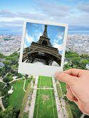 pic of polaroid  - Polaroid frame of Eiffel tower over The Champ de Mars of Paris - JPG