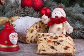 picture of desert christmas  - traditional homemade Christmas sweet bread with dried fruit