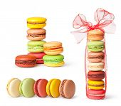 Tasty colorful macaroon on a white background