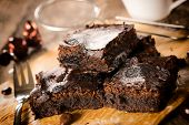 stock photo of brownie  - Selective focus on the front homemade chocolate brownies - JPG