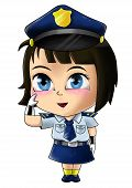 picture of chibi  - Cute cartoon illustration of a policewoman isolated on white - JPG