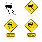 image of skid  - Icon showing a car skidding on a slippery road or surface - JPG