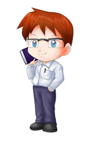 picture of chibi  - Cute cartoon illustration of a teacher isolated on white - JPG