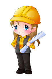 picture of chibi  - Cute cartoon illustration of an architect isolated on white - JPG