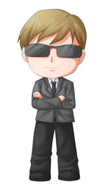 stock photo of chibi  - Cute cartoon illustration of a man figure in a suit and sunglasses - JPG