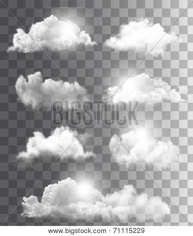 Set of transparent different clouds. Vector.  poster