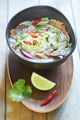 picture of rice noodles  - Pho bo, Vietnamese food, rice noodle soup with sliced beef