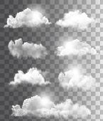 image of  realistic  - Set of transparent different clouds - JPG