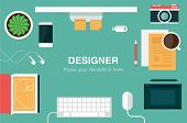 pic of cactus  - designer desk header flat icon style vector illustration - JPG