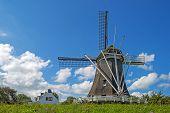 pic of dike  - Windmill on a dike under a blue sky - JPG
