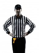 stock photo of offside  - american football referee gestures offside in silhouette on white background - JPG