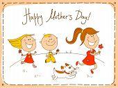Постер, плакат: Счастливый день матери поздравительных открыток