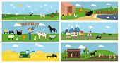 picture of husbandry  - Beautiful Vector Farmyard Cartoon Banner for Web Pages and Other Graphic Designs - JPG