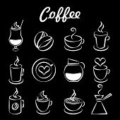 stock photo of hot coffee  - Set of coffee icons on black with a coffee pot  percolator  beans  heart shaped cappuccino and steam  mugs and cups of fresh hot brew and iced coffee or milkshake for a cafeteria or restaurant - JPG