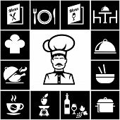 pic of chinese menu  - Set of restaurant icons in white on black around a central sketch of a chef in a toque with wine and food menus  table  dome  roast  salad  coffee  ingredients  cooking  wine and beverages - JPG