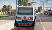 pic of railcar  - Modern suburban electric train standing at the station in Russia - JPG