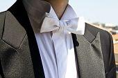 pic of emcee  - Papillon white detail of frac elegant men - JPG