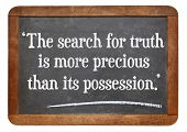 the search for truth is more precious than its possession - a quote from Albert Einstein on a vintage slate blackboard poster