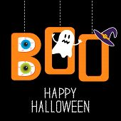 stock photo of witch  - Hanging word BOO with ghost eyeballs and witch - JPG
