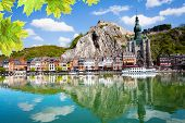 foto of historical ship  - Meuse river with Collegiale Notre Dame - JPG