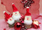 picture of gnome  - christmas decoration with three gnomes wooden handicraft work - JPG