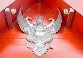 image of garuda  - Thai lanna garuda lacquer work silver stock photo - JPG