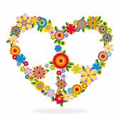 picture of peace-sign  - Peace heart sign made of flowers vector illustration - JPG