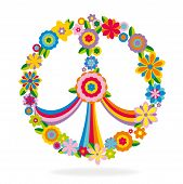 stock photo of peace-sign  - Peace sign made of flowers vector illustration - JPG