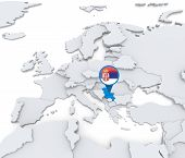 image of serbia  - Highlighted Serbia on map of Europe with national flag - JPG