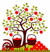 picture of hand-barrow  - vector apple tree - JPG