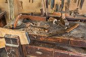 picture of work bench  - woodworking tools of antique carpentry  - JPG