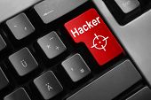 foto of vpn  - dark grey keyboard red enter button hacker crosshair - JPG