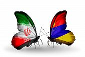 picture of armenia  - Two butterflies with flags on wings as symbol of relations Iran and Armenia - JPG