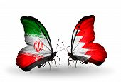 pic of bahrain  - Two butterflies with flags on wings as symbol of relations Iran and Bahrain - JPG