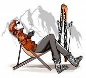 foto of cold drink  - Woman having a break drinking coffee after skiing  - JPG