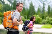 stock photo of multicultural  - Hikers  - JPG