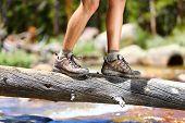 picture of shoe  - Hiking man crossing river in walking in balance on fallen tree trunk in nature landscape - JPG