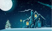 stock photo of tree house  - Illustration of Christmas night with a fabulous house and a Christmas tree - JPG