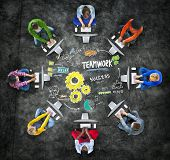 stock photo of collaboration  - Teamwork Team Together Collaboration Computer Technology Online Concept - JPG