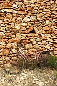 Aged Weathered Bicycle Vintage Stone Wall poster