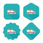 pic of ambulance car  - Ambulance Car Flat Icon With Long Shadow - JPG