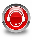 image of day care center  - Customer care service icon glossy red round button - JPG