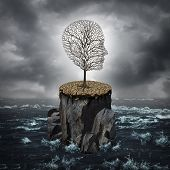picture of cliffs  - Failure crisis concept and lost business career or education opportunity metaphor as a dying tree shaped as a human head alone on a rock cliff with dry ground surrounded by an ocean - JPG