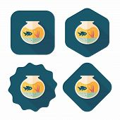 pic of fishbowl  - Pet Fish Bowl Flat Icon With Long Shadow - JPG