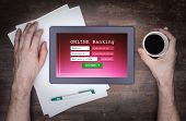 picture of internet-banking  - Online banking on a tablet  - JPG