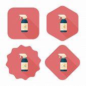 picture of flea  - Pet Flea Spray Flat Icon With Long Shadow - JPG