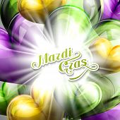 picture of tuesday  - vector illustration of Mardi Gras or Shrove Tuesday lettering label on the flying balloon hearts background with shiny explosion - JPG