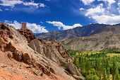 image of jammu kashmir  - Ancient ruins at Basgo Monastery Leh ladakh landscape Jammu and Kashmir India