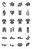 stock photo of headgear  - Big vector set of sports accessories clothing footwear headgear - JPG
